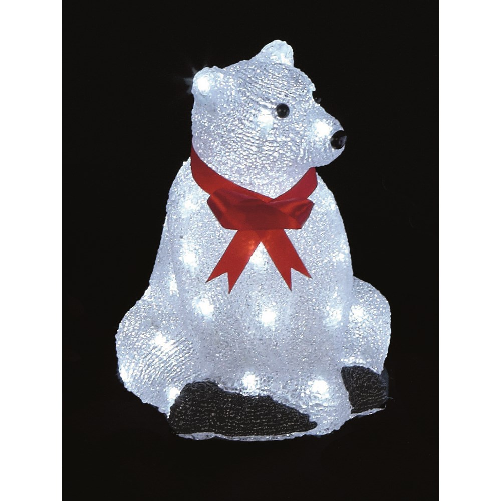 premier decorations sitting light up acrylic lit polar bear 30cm